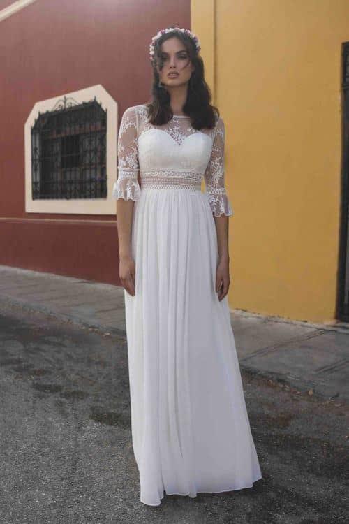 BOM Callista robe bohème mousseline dentelle fine coloris ivoire ou blanc taille 36 46 - BO'M Callista