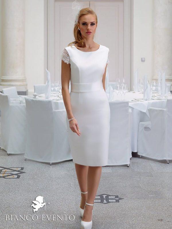 Bianco Evento Begonia robe courte satin dentelle coloris ivoire ou blanc taille 36 46 - Bianco Evento Begonia
