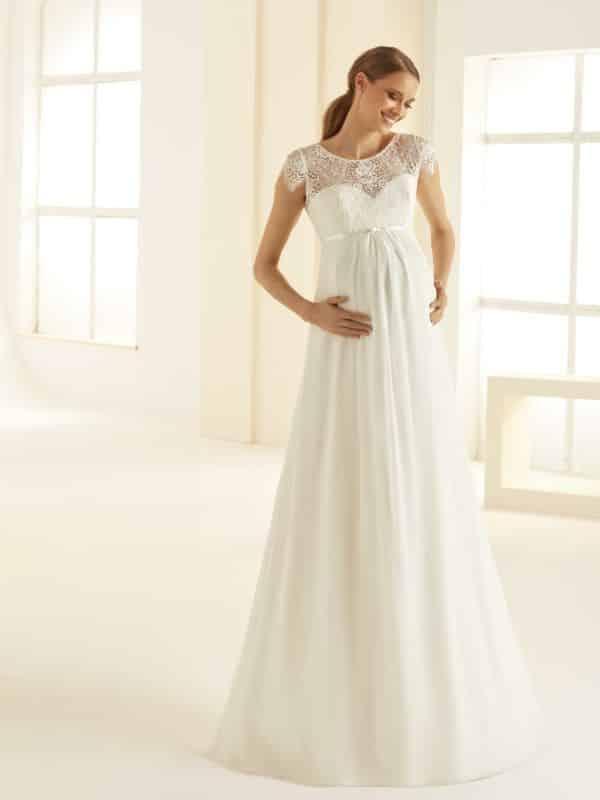 Bianco Evento Bernadette robe spéciale grossesse mousseline dentelle coloris ivoire taille 36 46 - Bianco Evento Bernadette