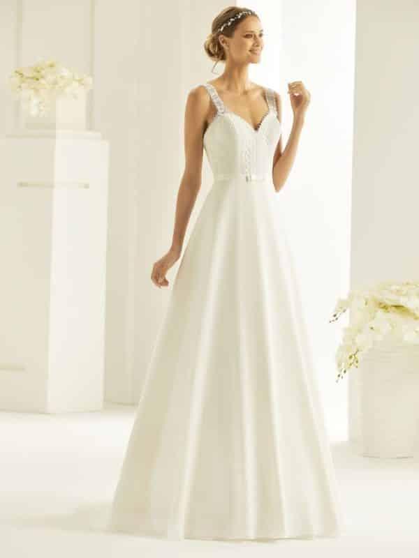 Bianco Evento Blanca robe mousseline dentelle guipure coloris ivoire ou blanc taille 36 46 - Bianco Evento Blanca