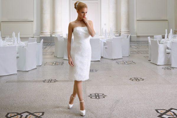 Bianco Evento Magnolia robe courte dentelle coloris ivoire taille 36 46 - Bianco Evento Magnolia