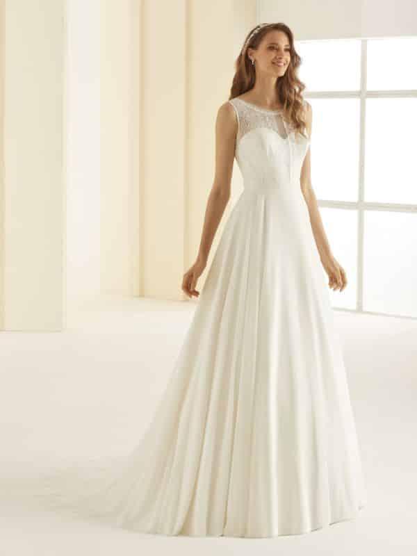 Bienco Evento Rachel robe bohème mousseline dentelle coloris ivoire taille 36 46 - Bianco Evento Rachel