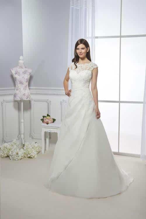 Collector Mélusine robe organza dentelle perlée coloris ivoire ou blanc taille 36 58 - Collector Mélusine