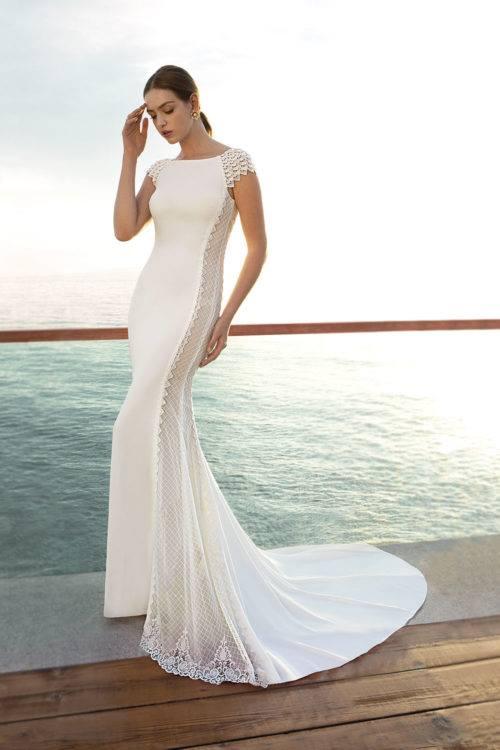 Cosmobella Chérazade robe glamour en crêpe et dentelle coloris ivoire ou blanc taille 36 44 - Cosmobella Schérazad