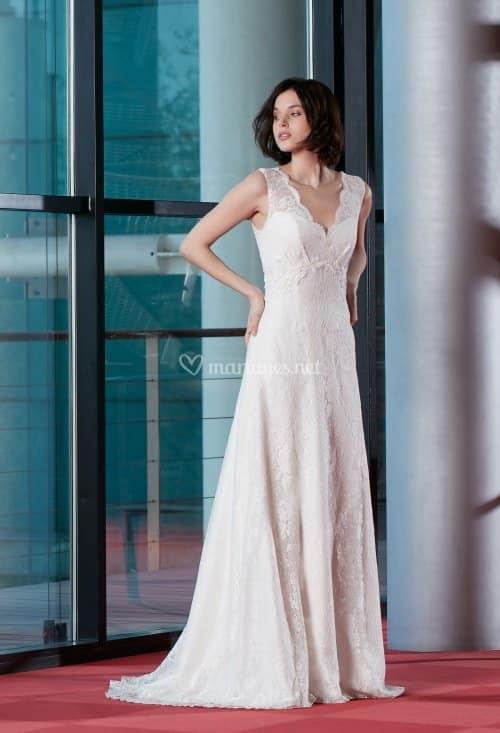 Créations Bochet Coco C robe bohème dentelle calais coloris ivoire ou blanc taille 36 46 - Créations Bochet Coco C
