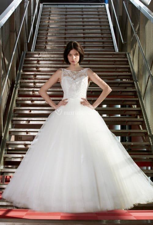 Créations Bochet Grace K robe princesse tulle dentelle calais coloris ivoire ou blanc taille 36 46 - Créations Bochet Grace K