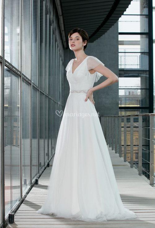 Créations Bochet Liza M robe bohème tulle dentelle calais coloris ivoire blanc taille 36 46 - Créations Bochet Liza M
