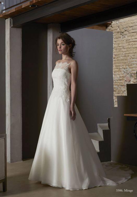 Créations Bochet Mirage robe organza dentelle calais coloris ivoire ou blanc taille 36 46 - Créations Bochet Mirage