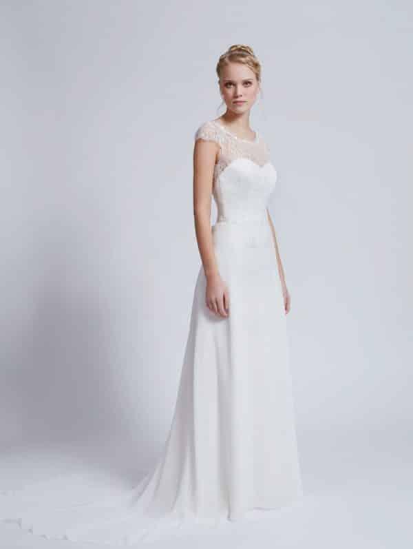 Créations Bochet Phoenix robe mousseline dentelle calais coloris ivoire ou blanc taille 36 46 - Créations Bochet Phoenix