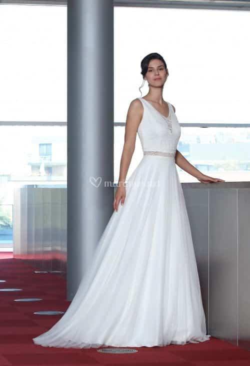 Créations Bochet Pina B robe bohème tulle dentelle calais coloris ivoire ou blanc taille 36 46 - Créations Bochet Pina B