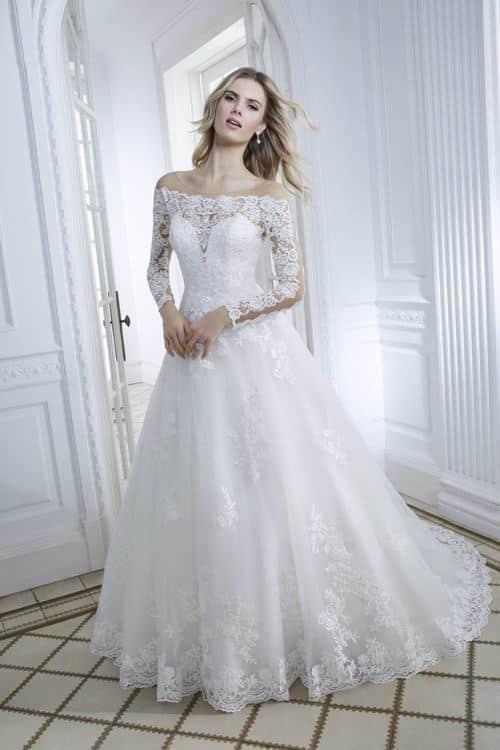 Divina Sposa Cassiopée robe contemporaine tulle dentelle coloris ivoirenude ou blancnude taille 36 46 1 - Divina Sposa Cassiopée