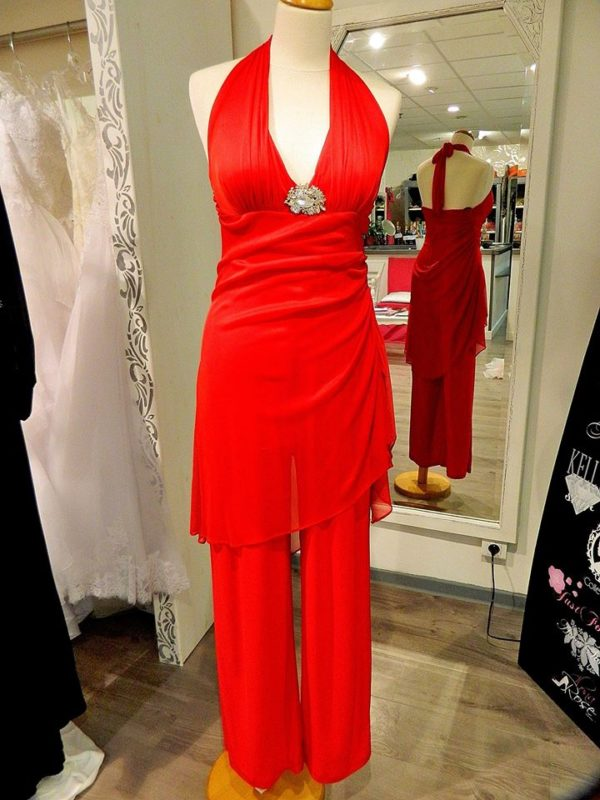 Fashion New York 9870 combinaison pantalon en jersey et tissu maille coloris rouge taille 44 129€ au lieu de 229€ - Fashion New York 9870