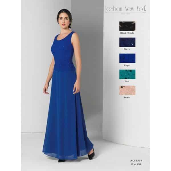 Fashion New York AG1568 ensemble robe longue mousseline veste dentelle coloris au choix taille 40 50 - Fashion New York AG1568