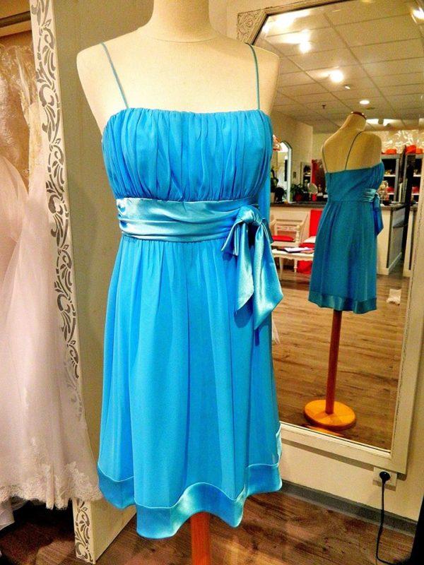 Fashion New York D1136 robe bustier courte en mousseline et satin coloris bleu ciel taille 42 119€ au lieu de 189€ - Fashion New York D1136