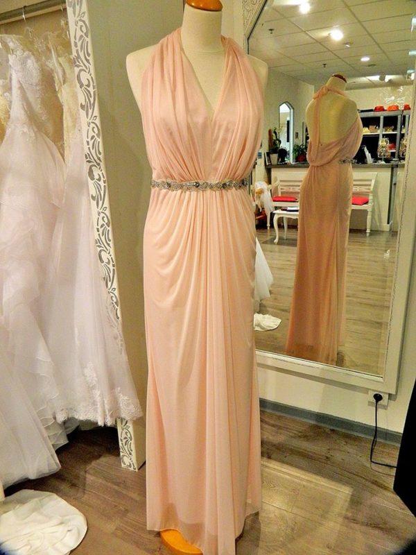 Fashion New York D1528 robe longue en tissu maille et ceinture perlée coloris blush taille 42 139€ au lieu de 229€ - Fashion New York D1528