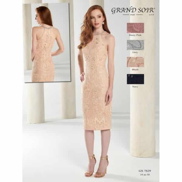 Fashion New York GS7829 ensemble robe courte dentelle veste taffetas coloris au choix taille 34 50 - Fashion New York GS7829