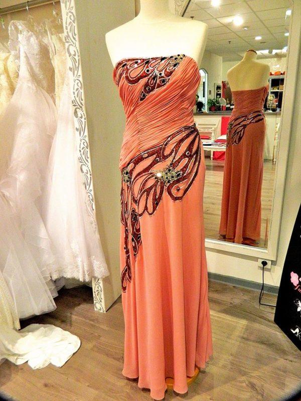 Fashion New York NY1251 robe bustier longue en mousseline et broderies strass coloris vieux rose taille 36 159€ au lieu de 295€ - Fashion New York NY1251