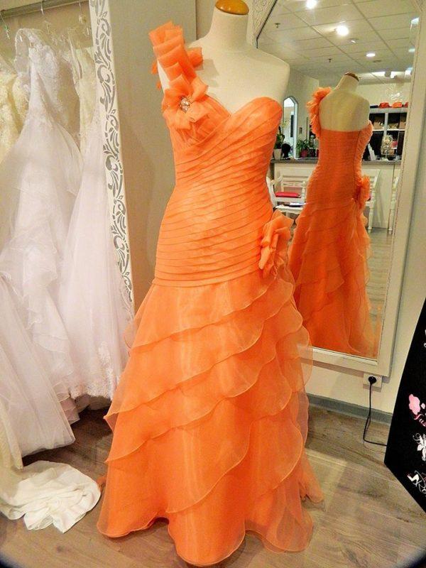 Fashion New York NY1407 robe longue en organza coloris corail taille 38 200€ au lieu 345€ - Fashion New York NY1407