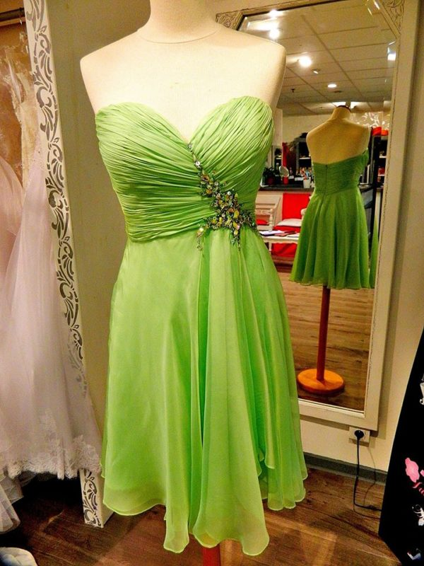 Fashion New York NY1447 robe bustier courte en mousseline et broderie strass coloris vert pomme taille 40 129€ au lieu 239€ - Fashion New York NY1447
