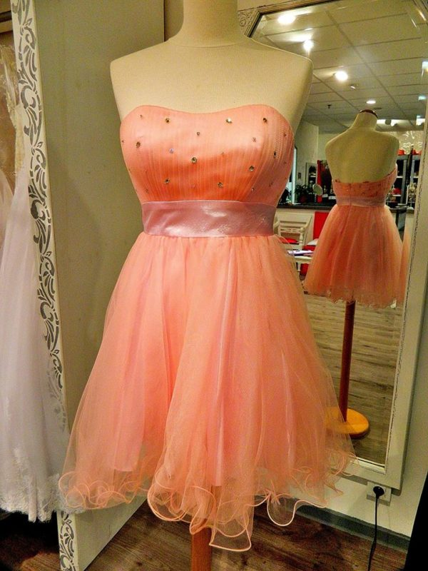Fashion New York NY1726 robe bustier courte en tulle et ceinture satin coloris rose bonbon taille 34 120e au lieu de 215€ - Fashion New York NY1726