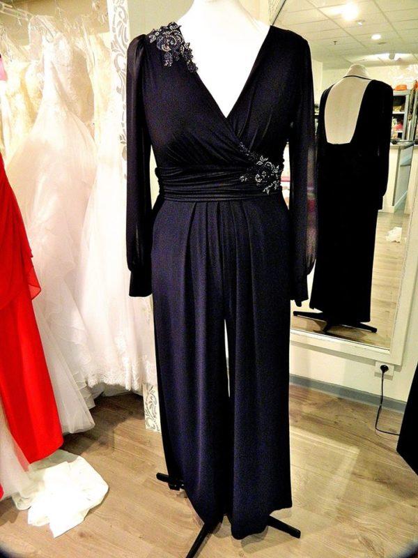 Fashion New York NY2253 combinaison pantalon en jersey et broderies perlées coloris marine taille 46 209€ au lieu de 297€ - Fashion New York NY2253