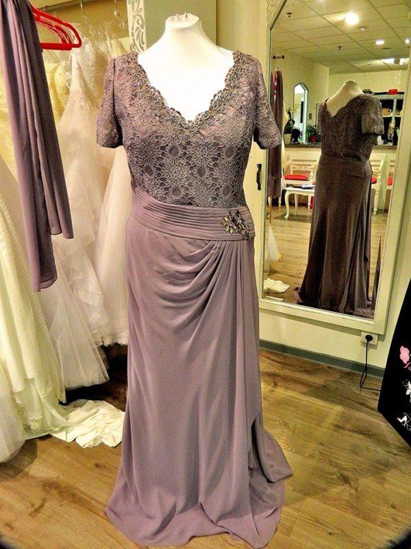 Fashion New York NY2535 robe longue en mousseline et dentelle rebrodée coloris lavande taille 52 245€ au lieu de 289€ - Fashion New York NY2535