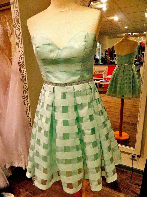 Fashion New York NY2633 robe bustier courte en organza avec effet rubans croisés coloris aqua taille 40 139€ au lieu de 249€ - Fashion New York NY2633