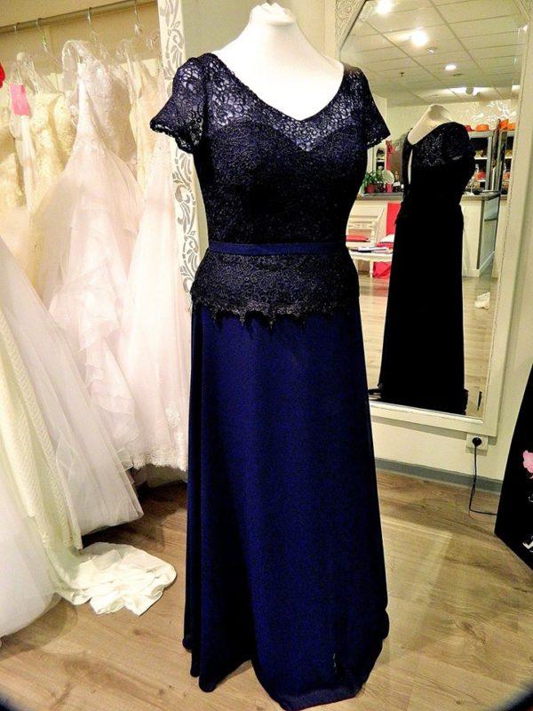 Fashion New York NY2743 robe longue en mousseline et dentelle guipure coloris marine taille 48 195€ au lieu de 229€ - Fashion New York NY2743