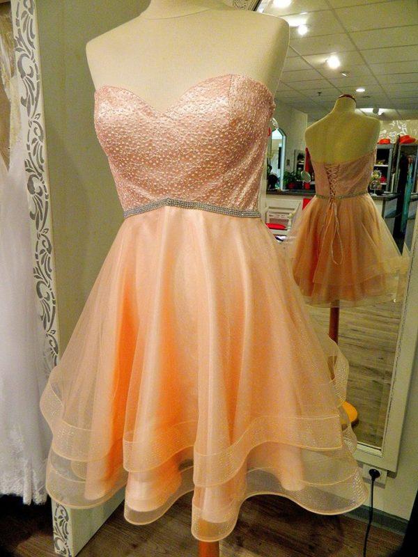 Fashion New York NY2744 robe bustier courte en tulle et dentelle avec laçage dans le dos coloris blush taille 40 160€ au lieu de 189€ - Fashion New York NY2744