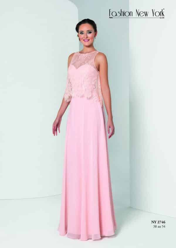 Fashion New York NY2746 robe longue mousseline dentelle fine colorix au choix taille 38 54 - Fashion New York NY2746