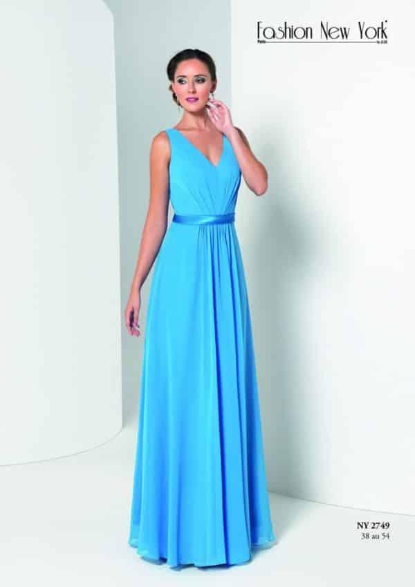 Fashion New York NY2749 robe longue mousseline ceinture satin colorix au choix taille 38 54 - Fashion New York NY2749