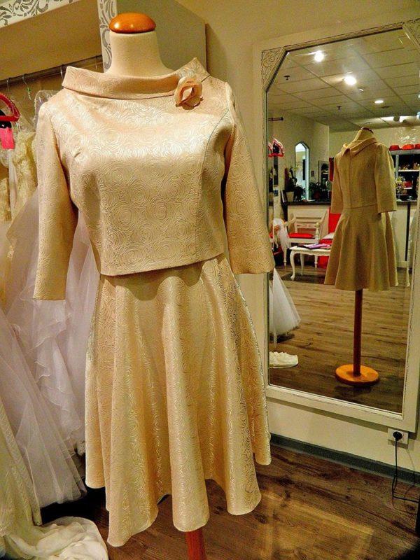 Fashion New York NY2825 ensemble robe bustier courte et veste en taffetas brocardé coloris champagne taille 38 245€ au lieu de 289€ - Fashion New York NY2825