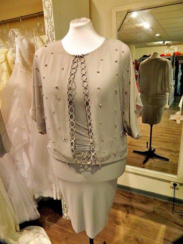 Fashion New York NY2838 robe courte en jersey et mousseline coloris gris taille 46 195€ au lieu de 229€ - Fashion New York NY2838