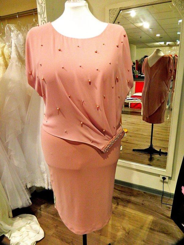 Fashion New York NY2839 robe courte en jersey et mousseline perlée coloris vieux rose taille 48 195€ au lieu de 229€ - Fashion New York NY2839