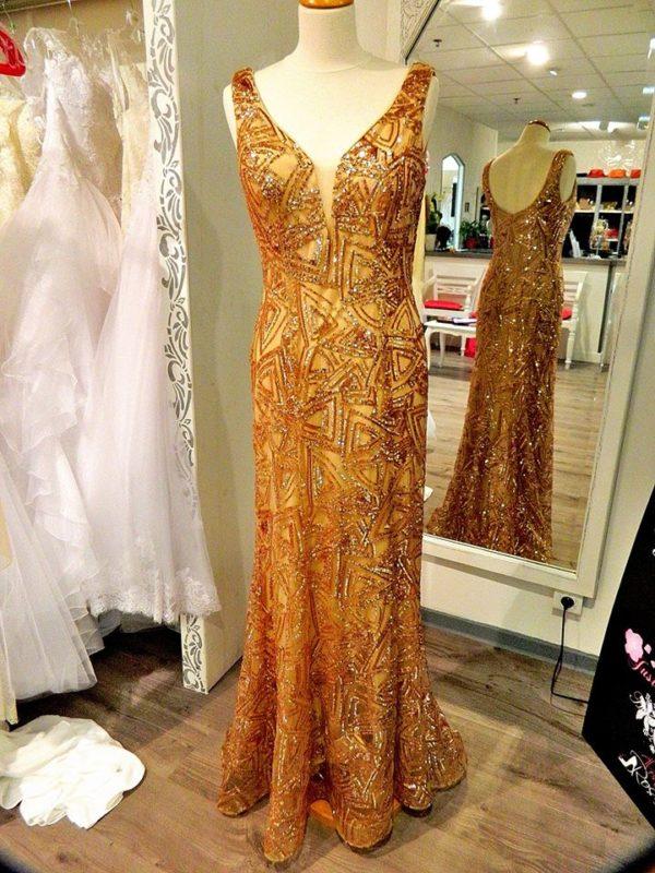 Fashion New York NY2947 robe longue en tulle brodé de sequins coloris rose gold taille 40 290€ au lieu de 339€ - Fashion New York NY2947
