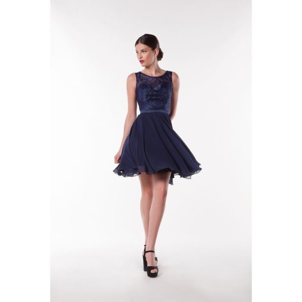 Fashion New York NY2965 robe courte mousseline dentelle coloris au choix taille 36 46 - Fashion New York NY2965