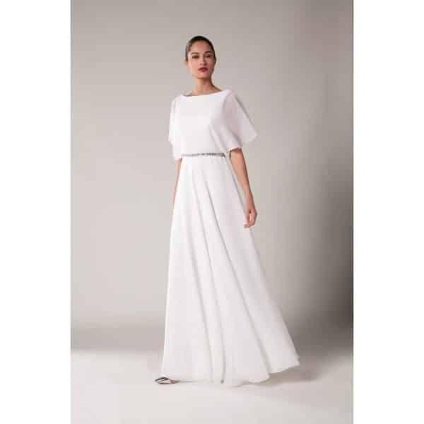 Fashion New York NY2993 robe longue mousseline ceinture stass colorix au choix taille 36 54 - Fashion New York NY2993