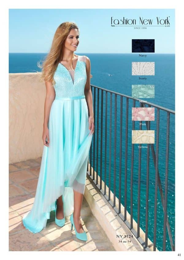 Fashion New York NY3124 robe courte devant effet traine en tulle dentelle guipure coloris au choix taille 34 54 - Fashion New York NY3124