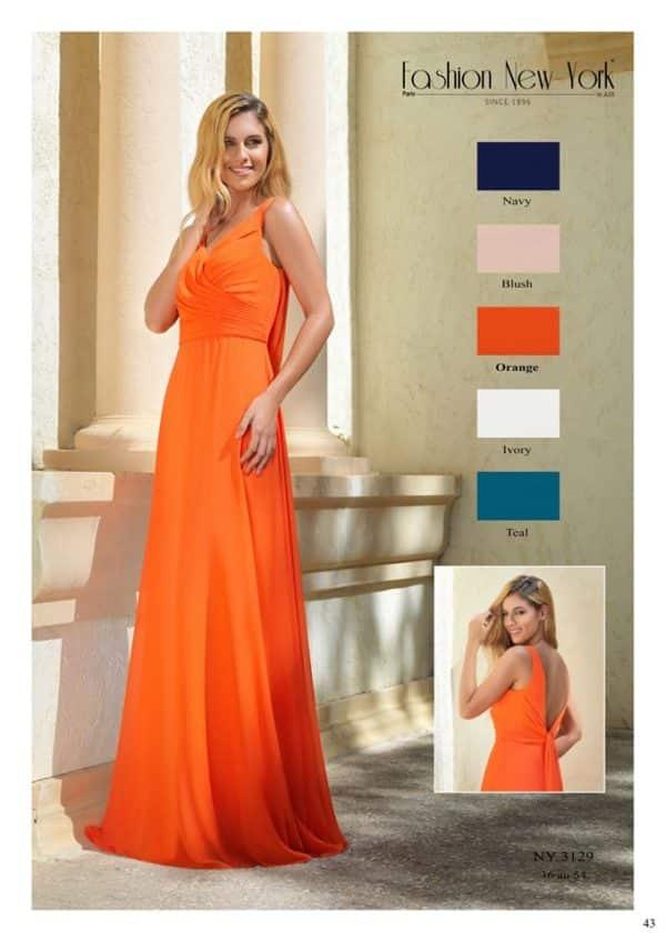 Fashion New York NY3129 robe longue mousseline coloris au choix taille 36 54 - Fashion New York NY3129