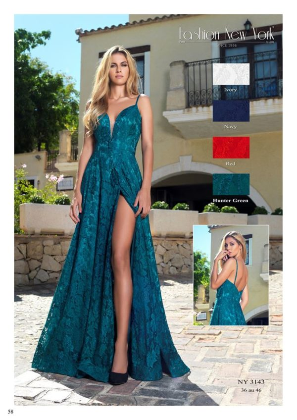 Fashion New York NY3143 robe longue style porte feuille devant dentelle colorix au choix taille 36 46 - Fashion New York NY3143