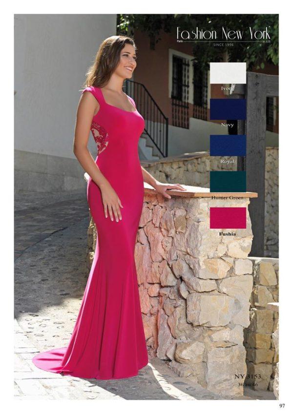 Fashion New York NY3153 robe longue sirène jersey dentelle dans le dos colorix au choix taille 36 46 - Fashion New York NY3153