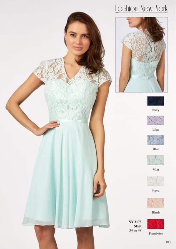 Fashion New York NY3173 robe courte mousseline dentelle ceinture satin coloris au choix taille 34 48 - Fashion New York NY3173