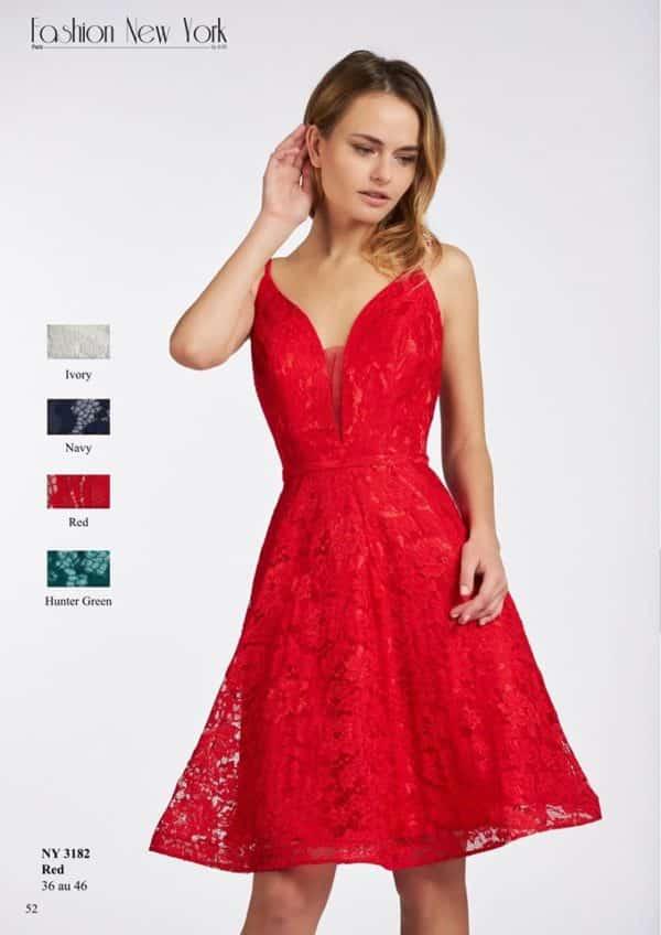 Fashion New York NY3182 robe courte dentelle colorix au choix taille 36 46 - Fashion New York NY3182