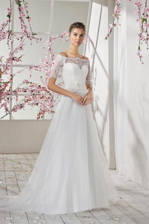 Just For You Ecrin robe organza dentelle coloris ivoire ou blanc taille 36 46 - Just For You Ecrin