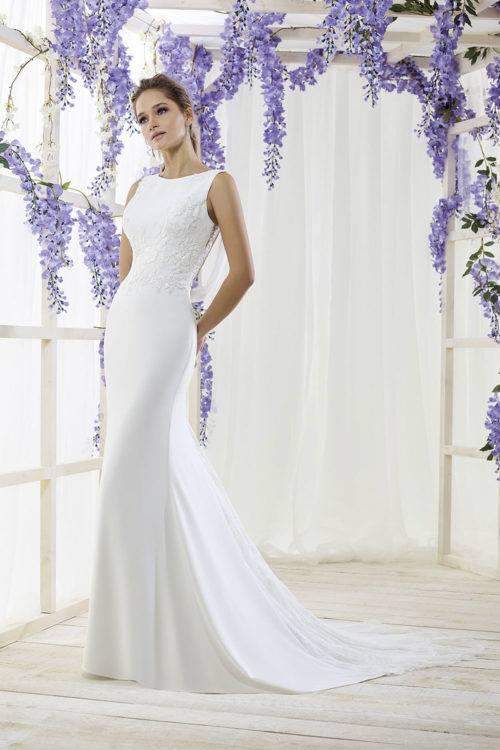 Just For You Fleur de la Passion robe glamour crêpe dentelle coloris tout ivoire tout blanc ou blancnude taille 36 44 - Just For You Fleur de la Passion
