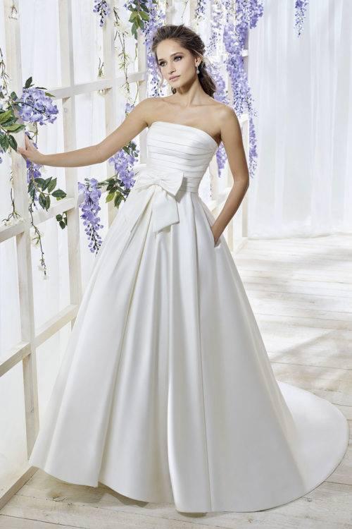 Just For You Pivoine robe contemporaine satin coloris ivoire ou blanc taille 36 46 - Just For You Pivoine