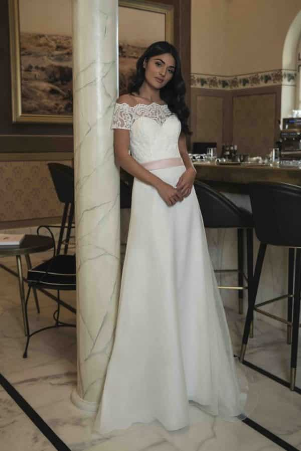 One Only Opaline robe bohème organza dentelle coloris tout ivoire ou ivoirerose taille 36 46 - One & Only Opaline