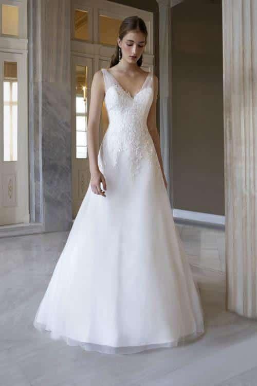 Orea Sposa Oriane robe contemporaine tulle dentelle coloris ivoire ou blanc taille 36 58 1 - Orea Sposa Oriane