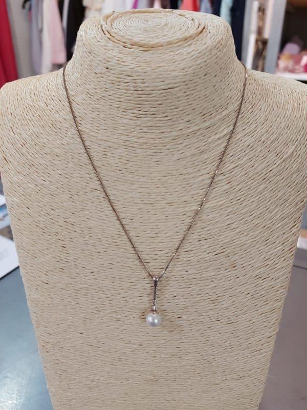 20201209 114431 - Collier chaine en argent, perle et zirconium