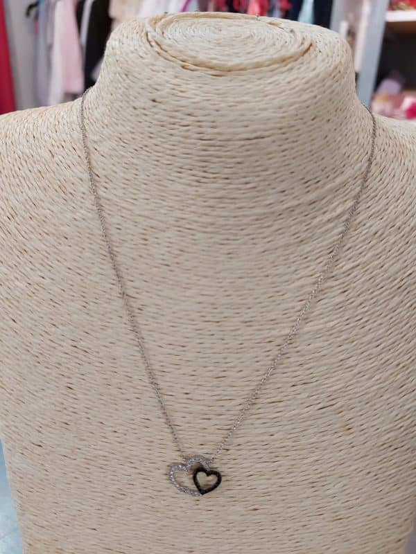 20201209 115900 - Collier chaine en argent et zirconium noir et blanc
